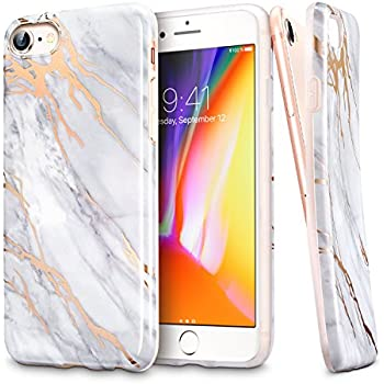 """iPhone 7 Case, iPhone 8 Case, Grey Gold Marble Pattern Design, ESR TPU Soft Rubber Silicone Phone Cover [Support Wireless Charging] for 4.7"""" Apple iPhone 8 (2017)/ iPhone 7(2016)(Grey Gold Sierra)"""