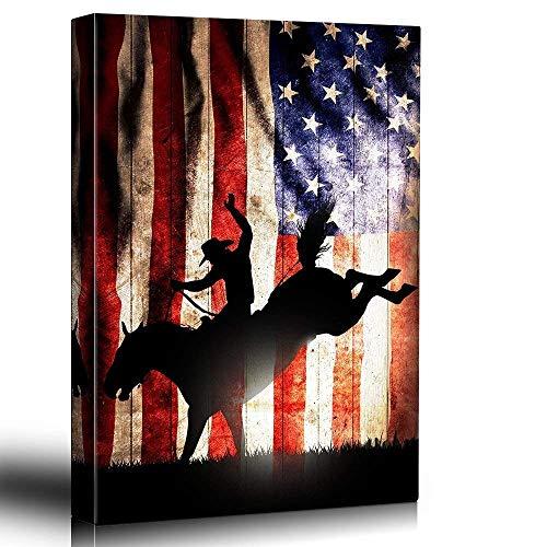 Patriotic Bucking Bronco Rider Silhoutte Rodeo Country Western Artwork Wood Grain Texture Rustic Art