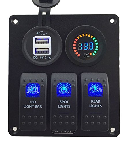 IZTOSS Blue led 3 gang DC12V blue switch panel with 12V voltage 3.1A dual USB voltmeter and wiring kits for Marine Boat Car Rv Vehicles Truck