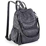UTO Women Backpack Purse PU Washed Leather Convertible Ladies Rucksack Tassel Zipper Pocket Shoulder Bag Grey