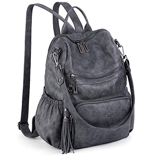 UTO Women Backpack Purse PU Washed Leather Convertible Ladies Rucksack Tassel Zipper Pocket Shoulder Bag Grey