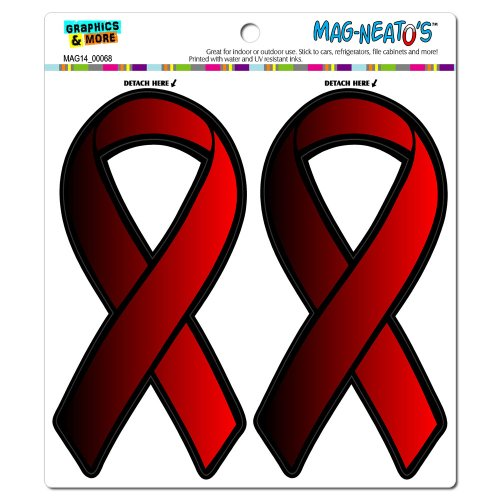 Graphics and More Red Awareness Support Ribbon - AIDS HIV Automotive Car Refrigerator Locker Vinyl Magnet Set