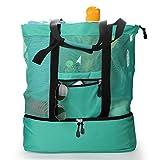 Topfox 2-in-1 Multifunctional Outdoor Travel Mesh Beach Bag Picnic drinking Cooler (Green)