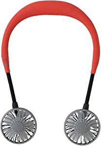 SPICE OF LIFE Hands-Free Portable Neckband W Fan - 5 Blade Dual Fans, 2000mAh USB Rechargeable Battery, 3 Speed Settings, Plastic Material - Red