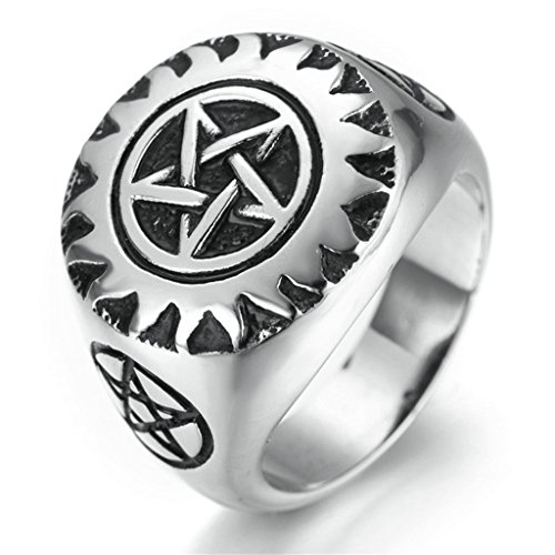 [Stainless Steel Ring for Men, Star Ring Gothic Silver Band Size 9 Epinki] (Lion Costume Philippines)