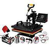 VEVOR Heat Press 8 in 1 Combo Multifunction Sublimation Heat Press Transfer Machine Desktop Iron Baseball Hat Press 1000W Digital Control Swing Away DIY T-Shirt Hat Mug (12x15IN 8in1)