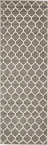 Unique Loom Trellis Collection Moroccan Lattice Dark Gray Runner Rug (2' 7 x 8' -