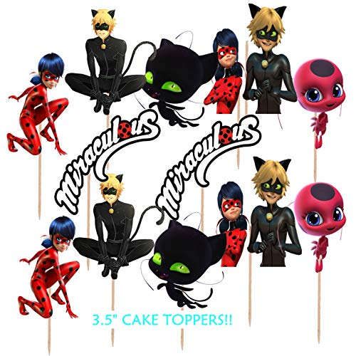 24pc Miraculous Ladybug Lady bug Cup Cake Cupcake Toppers Topper Birthday Party Latex Balloons balloon -