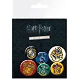 Harry Potter Badge Pack - Crests, 4 X 25mm & 2 X 32mm Badges (6 x 4 inches)