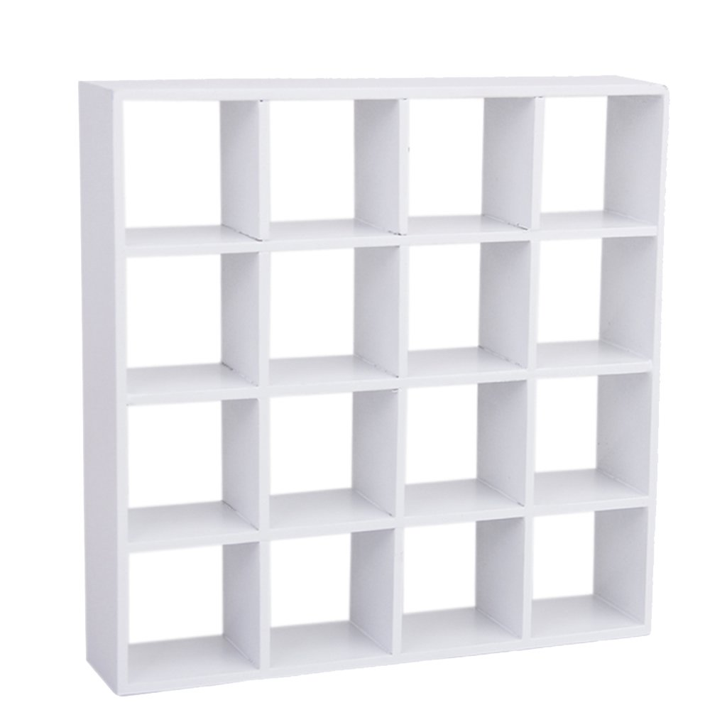 1/12 Dollhouse Miniature 4-Layer Wooden Display Shelf for Living Room---White Generic