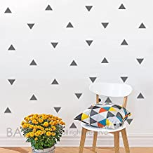 """BATTOO Triangle Wall Decal- Trianglest Decal- Gold Triangle Wall Decal- 4"""" Triangle sticker- Home Interior Decoration - Living Room Decal(gray, 50 pcs)"""