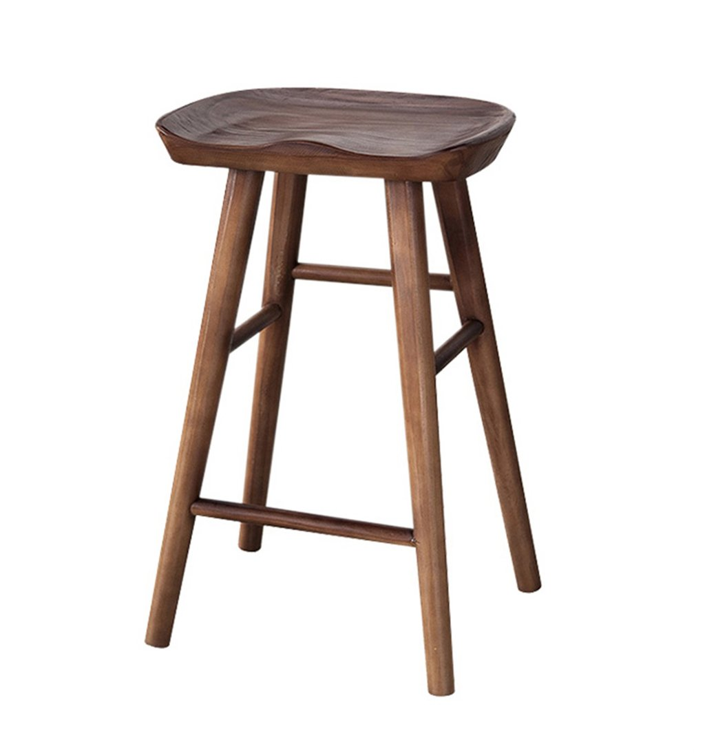 B 65CM SYF Barstools High Chair Bar Stool Counter Chair Leisure Seat Retro Retro Bar Chair Solid Wood High Stool Bar Kitchen Dining Chair Breakfast Stool A+ (color   A, Size   55CM)