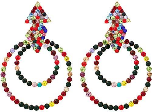 Crystal Chandelier Drop Earrings LongDangle - Multicolored Austrian Crystal Dangle Earring, Marquise Teardrop Earrings CZ, Gift for Sister, Wedding Brides & Bridesmaids, Party (Christmas earrings)