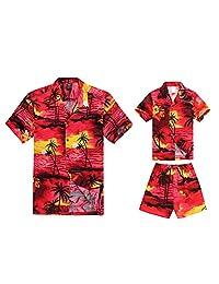 Matching Father Son Hawaiian Luau Outfit Men Boy Shirts Shorts Red Sunset