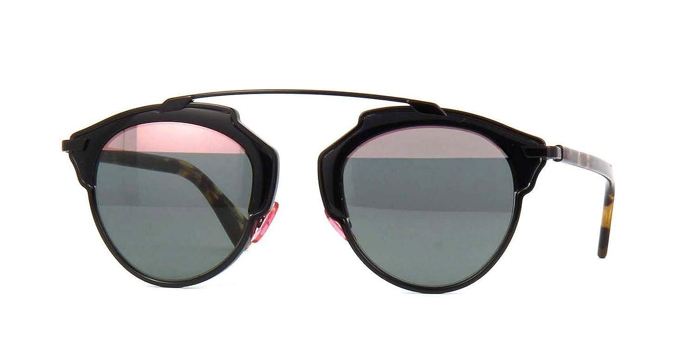 15708ce1ac Amazon.com  New Christian Dior SO REAL NT1 ZJ Shiny Black Havana Green Pink  Sunglasses  Clothing