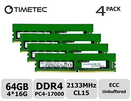 Timetec Hynix 64GB Kit (4x16GB) DDR4 2133MHz PC4-17000 Unbuffered ECC 1.2V CL15 2Rx8 Dual Rank 288 Pin UDIMM Server Memory RAM Module Upgrade (64GB Kit (4x16GB)) -