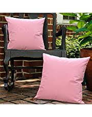 Lewondr Outdoor Throw Pillow Case, 2 Pack Solid Waterproof PU Coating Throw Pillow Cover UV Protection Garden Cushion Cover