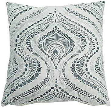 Image ofcaoGsh - Cojín Lumbar Bordado de algodón y Lino, diseño geométrico, 45 x 45 cm