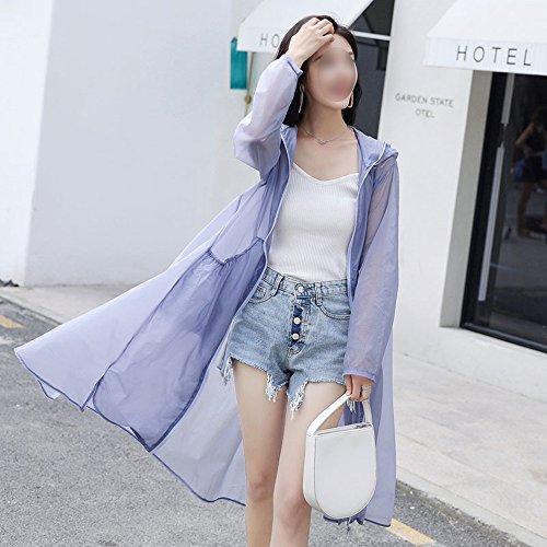 QFFL fangshaifu ロングセクションルース超薄日保護服/夏の女性スリム通気性日焼け止めショール/ソリッドカラーフード付きアンチUVビーチカーディガン (色 : A, サイズ さいず : L l)
