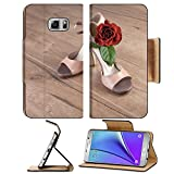 Luxlady Premium Samsung Galaxy Note 5 Flip Pu Leather Wallet Case Note5 IMAGE ID: 27122042 Argentine tango shoes with a rose on wooden floor text space