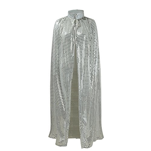 es Cloaks Full Length Colored Sequins Goddess Cape Halloween Christmas Outerwear (Silver) ()