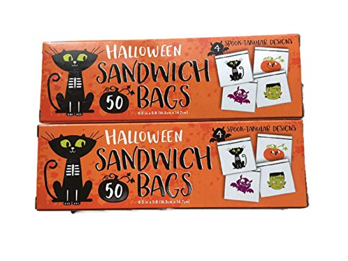 Halloween Sandwich, Snack or Candy Bags With 4 Spooky Designs. Frankenstein, Black Cat, Pumpkin and Bats (2 Pack) 50 Bags Each (Candy Frankenstein)