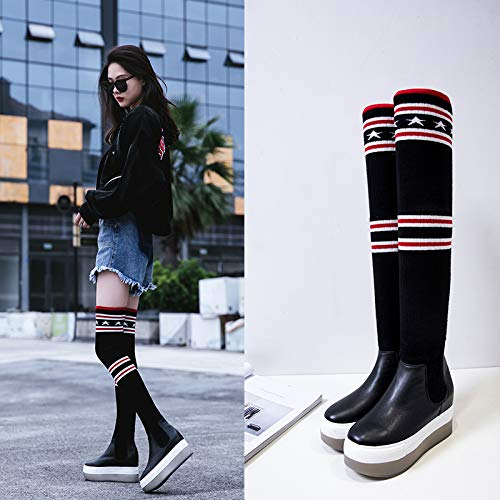 TSNMNB Europa y los Estados Unidos otoño e invierno de lana de cuero estrellas sobre la rodilla botas mujer muffin color de suela gruesa botas de tacón alto botas de marea, 38, negro (además de tercio