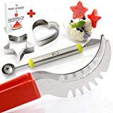 Watermelon Slicer Corer Knife & Server Tongs By Smart Ideas - Premium Stainless Steel Cutter &  No Slip Red Silicone Handle + Melon Baller + Cookie Cutters + FREE E-BOOK W/ fun healthy snacks recipes