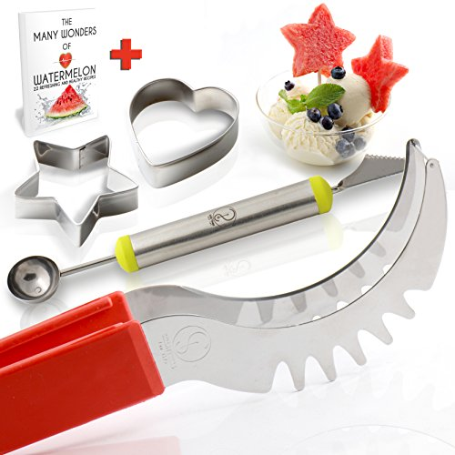 Watermelon Slicer & Server – Durable Stainless Steel Cutter & Non-Slip Red Silicone Handle W/Melon Baller + Cookie Cutters set+E-BOOK-The Ultimate Kitchen Tool for Fun & Healthy Meals By Smart Ideas