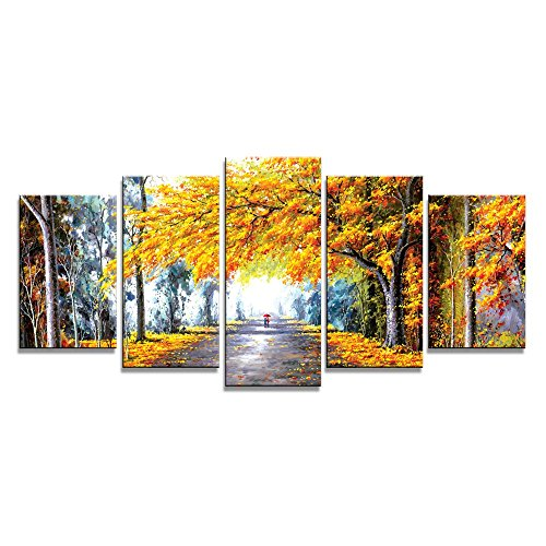 Wieco Art Giclee Canvas Prints Wall Art Autumn Love Picture by Oil Paintings Reproduction for Bedroom Kitchen Home Decorations Modern 5 Panels Framed Abstract Landscape Forest Photo Printed Artwork
