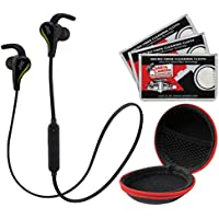 JVC HA-ET50BT Sports Inner Ear Wireless Bluetooth Headphones with Remote & Mic (Black) with Earbuds Case + (3) Cleaning Cloths Kit