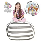 Hold The Door Extra Large Stuffed Animal Storage Bean Bag Chair - Toy Organizer & Comfy Chair - Perfect Storage Solution for Plush Toys, Blankets, Towels & Clothes - (Grey Striped, 38'')