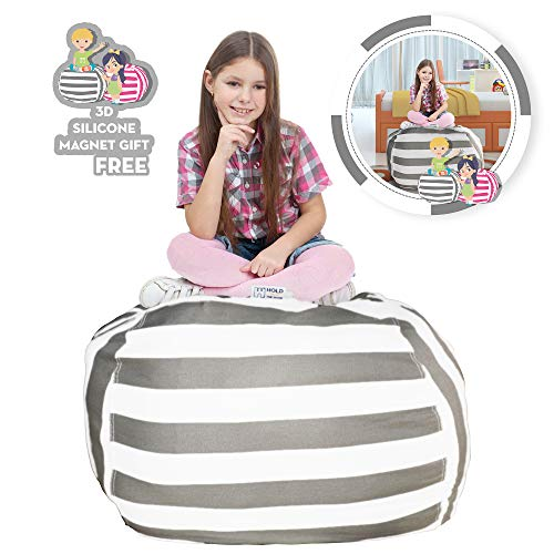 Hold The Door Extra Large Stuffed Animal Storage Bean Bag Chair - Toy Organizer & Comfy Chair - Perfect Storage Solution for Plush Toys, Blankets, Towels & Clothes - (Grey Striped, 38'') by Hold The Door