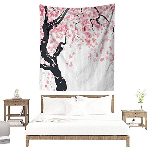 Wall Tapestries Hippie,House Decor,Japanese Cherry Tree Blossom in Watercolor Painting Effect Oriental Stylized Art Deco,Black Pink W63 x L63 inch Tapestry Wallpaper Home Decor