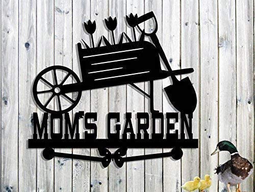 Personalized Metal Sign Custom Name Steel Sign- Mothers Day Gift Grandma Grandpas Name Moms Garden Sign Nanas Hand Made Customize it! Wheelbarrow-Flowers-Tulips MOMS Garden Sign