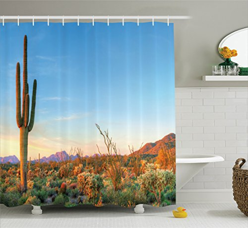 Ambesonne Saguaro Cactus Decor Shower Curtain Set, Sun Goes Down in Desert Prickly-Pear Cactus Southwest Texas National Park, Bathroom Accessories, 69W X 70L Inches, Orange Blue Green by Ambesonne