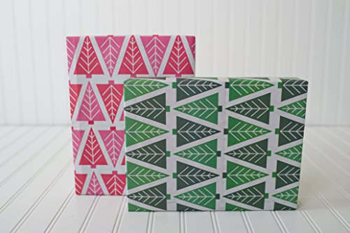 Modern Christmas Trees/Tannenbaum (6 Sheets) - Eco-Friendly Wrapping Paper - Reversible - Gift Wrap by Wrappily (Holiday Reversible Gift Wrap)