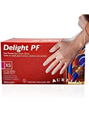Aurelia - Delight PF Clear - Single Use Vinyl Gloves-Latex and Powder Free - Hypoallergenic - Smooth Texture - Ambidextrous - Durable, 100 Units