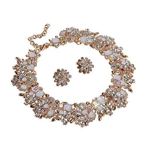 (Holylove Chunky Crystal Necklace Earrings for Women Fashion Jewlery Set White 1 Set Retro Style in Gift Box-8041 White)