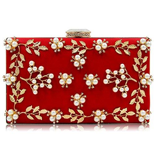 da 8 rilievo da Borse frange red in Borse con donna donna da TUTU colori sera opzionali gold 7p5gqqw