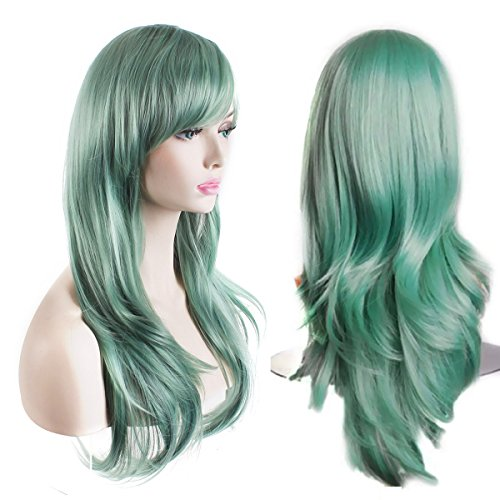 AKStore Women's Heat Resistant 28-Inch 70cm Long Curly Hair Wig with Wig Cap, Green]()