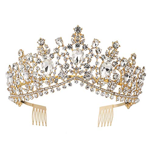 (Royal Rhinestone Crystal Queen Tiara Headband Wedding Pageant Birthday Party Crowns Princess Headpieces for Women Girls (Gold White))