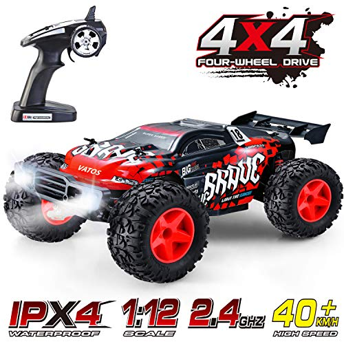 RC Car, VATOS 1/12 Remote Control Car 4WD 40+KM/H High Speed Off Road Monster Truck Rock Crawler Electric Buggy Desert Best Christmas Birthday Gift Hobby RC Vehicle Toys for Boys Adults with LED Light from VATOS