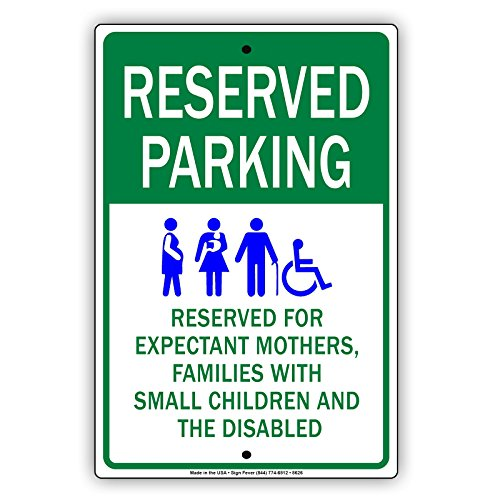 Family Reserved Parking Sign (Reserved Parking For Expectant Mothers. Families With Small Children Sign UV Coated Solid Metal Display Board Aluminum Sign 12