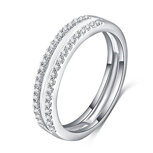 LuckyWeng 18K White Gold Simple Half Eternity 2 Row Micro Pave CZ Diamond Wedding Rings Women Size 7 8 9 ()