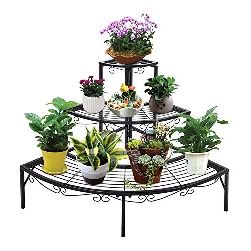 Xmas PROMO ONXO 3 Tier Black Iron Plant / Shoes Stand, Quarter Round Etagere Plant Corner Shelf Flower Pot Plant Holder Planters Display Rack Indoor / Outdoor (Small 33 x 25 x 23)