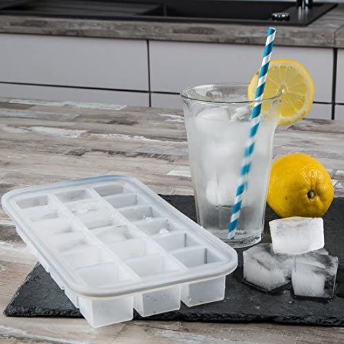 [Gesponsert]Levivo Silikon Eiswürfelform für 18 Eiswürfel, 27.8 x 14.2 x 3.6 cm, Weiß