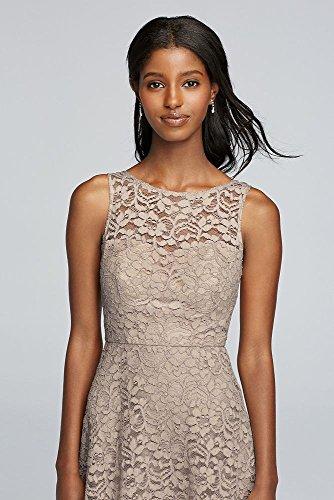 Short Sleeveless Style F18031 Canary Bridesmaid Illusion s Bridal David Dress Lace qAtx1EgwA