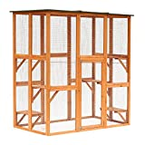 PawHut Large Wooden Outdoor Cat Enclosure Cage with 6 Platforms