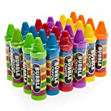 24 Crayon Bubble Bottles in Assorted Colors - Great for Kids of All Ages - Non-Toxic Materials - Clever No-Mess Design Prevents Spills- Awesome Party Favors, Pinata Fillers, and Stocking Stuffers
